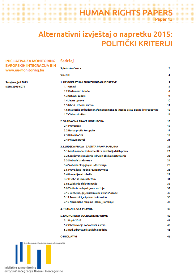 Alternative Progress Report 2015: political criteria Cover Image