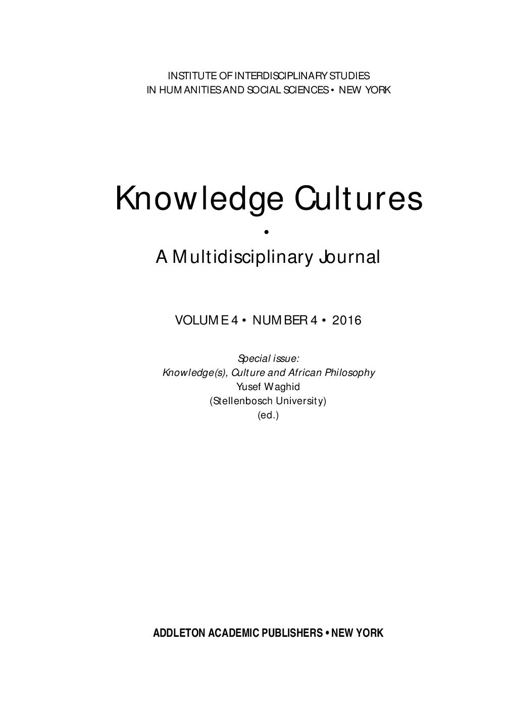 KNOWLEDGE(S), CULTURE AND AFRICAN PHILOSOPHY: AN INTRODUCTION