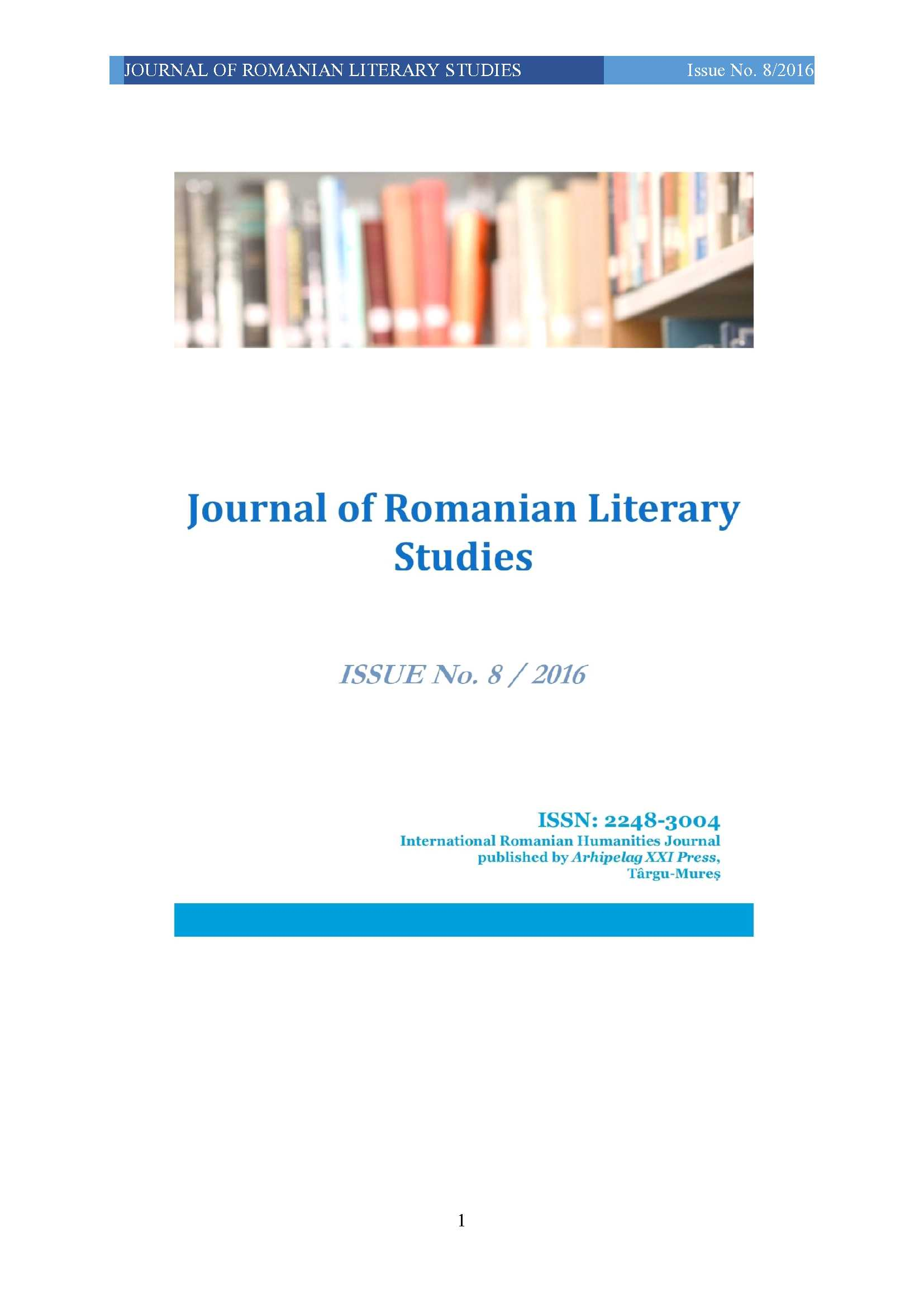 DIMINUTIVE AND AUGMETATIVE SUFFIXES IN THE ROMANIAN LANGUAGE. SPECIAL ATTENTION PAID TO THE TOPONYMS OF BISTRA AND SEBEȘ VALLEYS (CARAȘ-SEVERIN COUNTRY) Cover Image