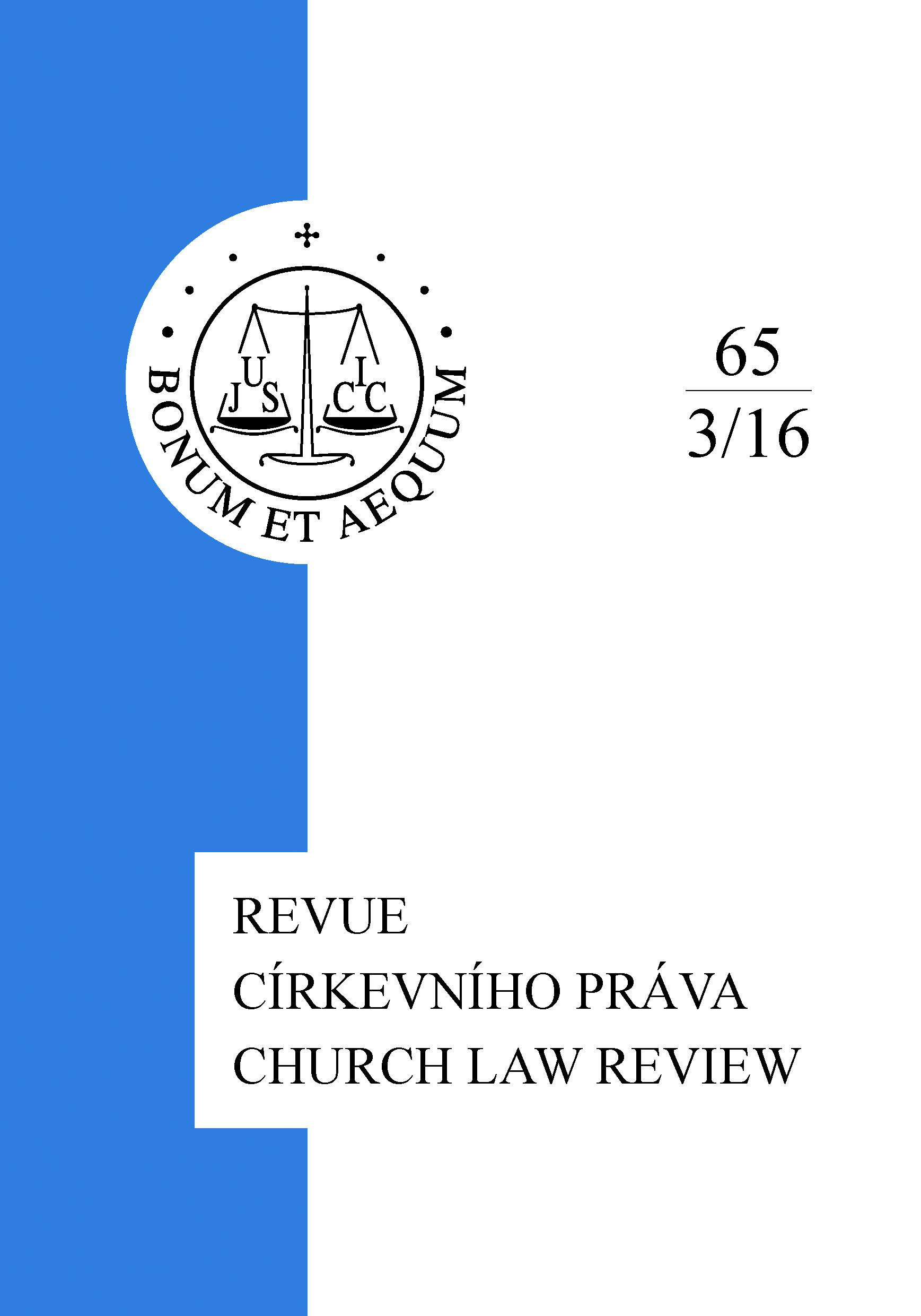 22nd Conference Church and State, Brno, September 2016 Cover Image