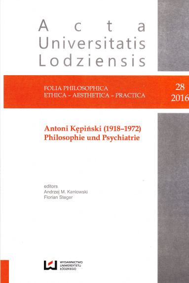 Antoni Kępiński's Philosophy of Medicine - an alternative reading Cover Image