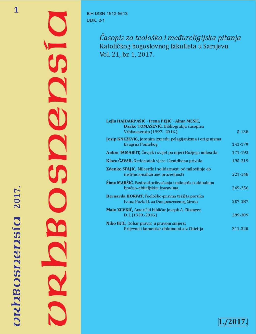 Bibliography of the journal Vrhbosnensia (1997 - 2016) Cover Image