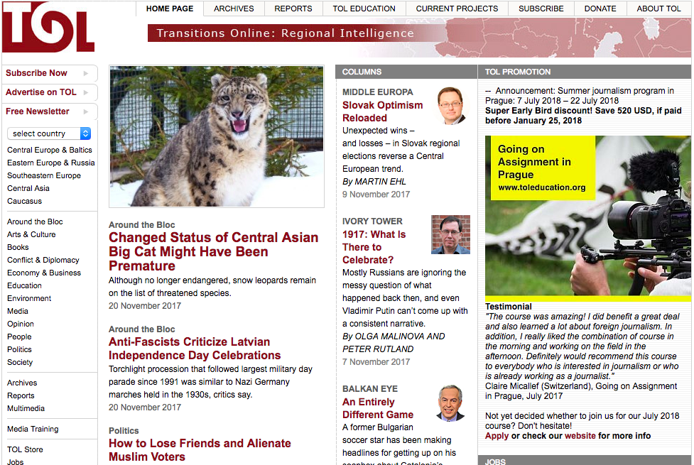 Transitions Online_Around the Bloc-Changed Status of Central Asian Big Cat Might Have Been Premature
