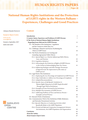National Human Rights Institutions and the Protection of LGBTI rights in the Western Balkans – Experiences, Challenges and Good Practices Cover Image