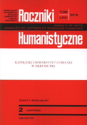 An Outline of the Uniqueness of the Catholic University of Lublin on the Background of the Polish Academic World after 1944 Cover Image