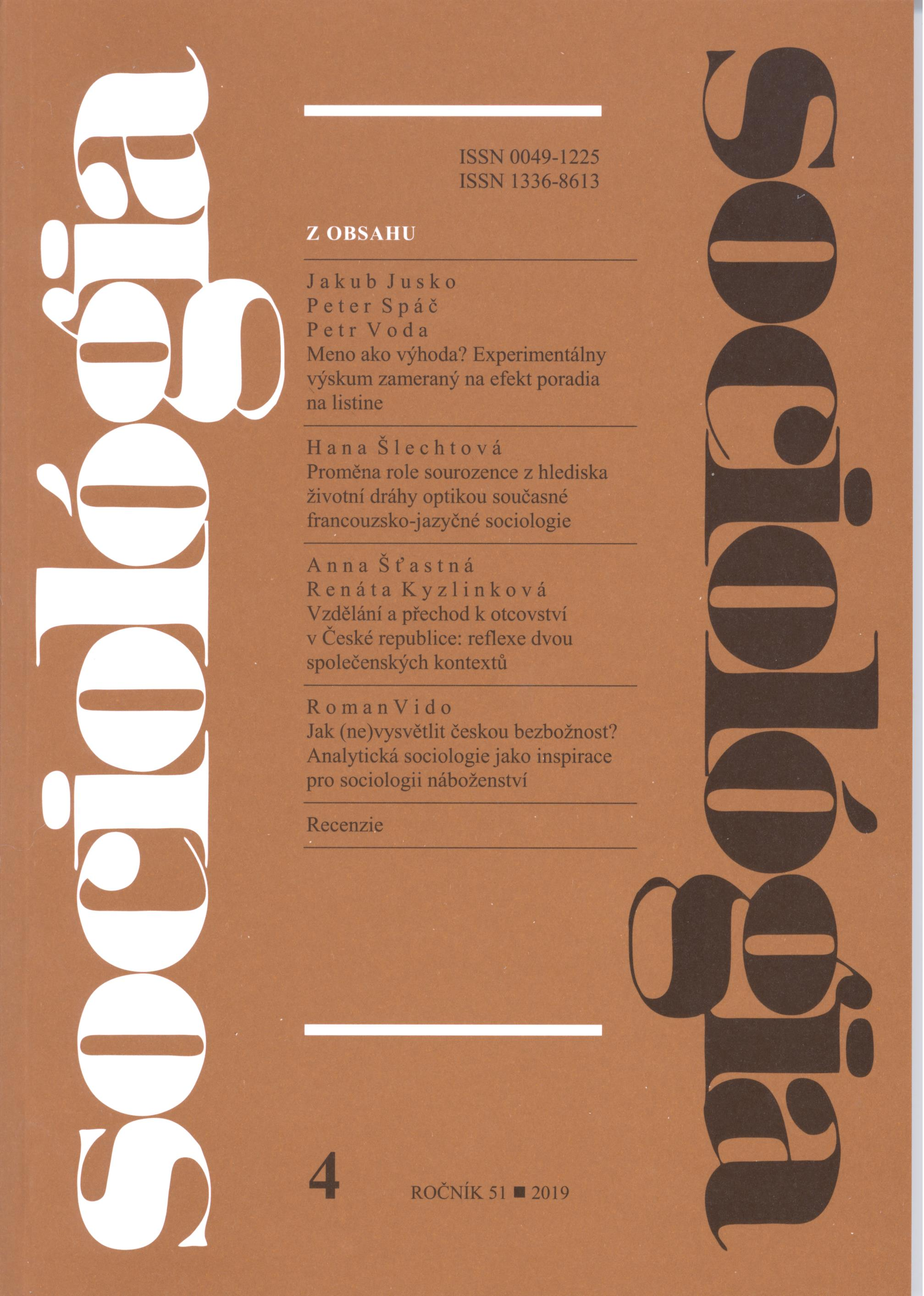 Education and the Transition to Fatherhood in the Czech Republic: The Reflection of two Societal Contexts Cover Image
