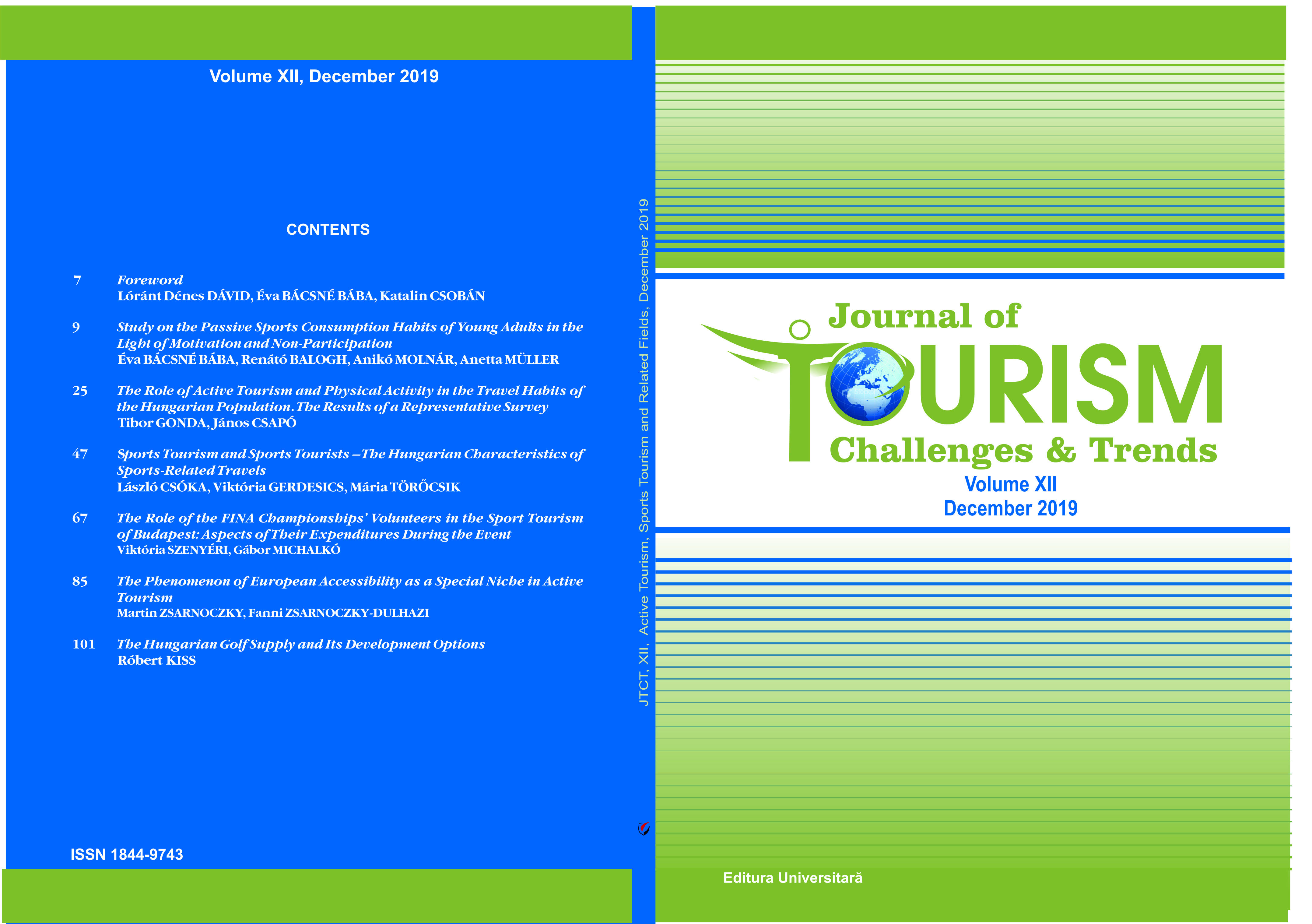 Sports Tourism and Sports Tourists – The Hungarian Characteristics of Sports-Related Travels Cover Image