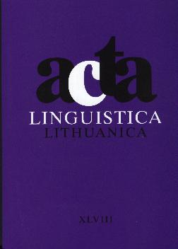 Acta Linguistica Lithuanica Cover Image