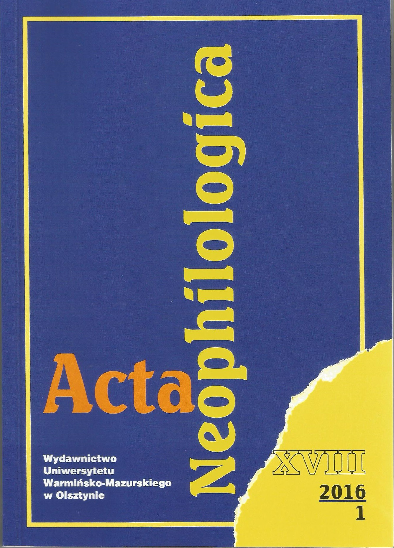 Acta Neophilologica Cover Image