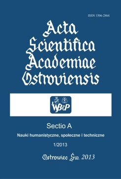Acta Scientifica Academiae Ostroviensis. Sectio A, Humanities, social and technical sciences Cover Image