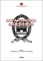 Acta Technica Napocensis - Languages For Specific Purposes Cover Image