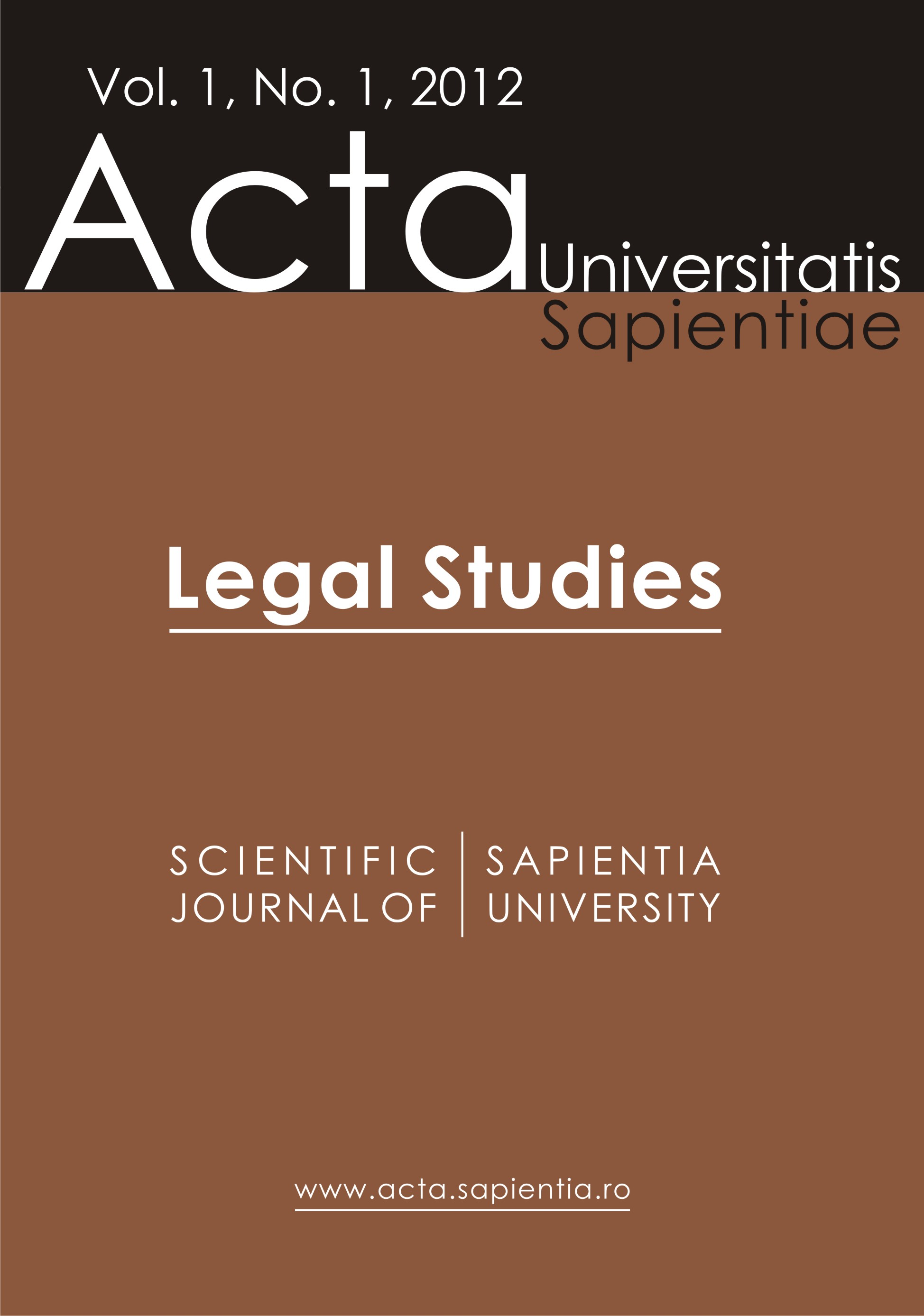 Acta Universitatis Sapientiae, Legal Studies Cover Image
