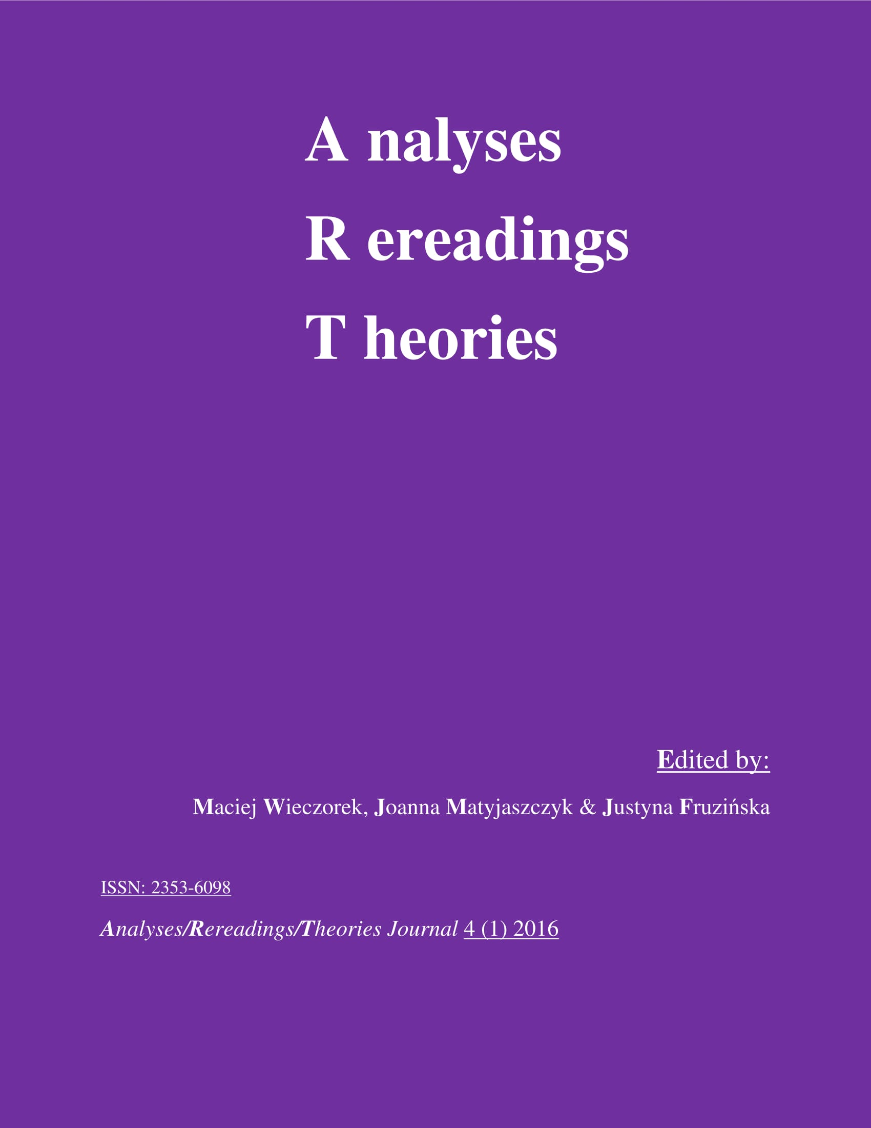 Analyses/Rerearings/Theories (A/R/T) Journal Cover Image