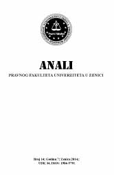 Annals of the Faculty of Law - University of Zenica Cover Image