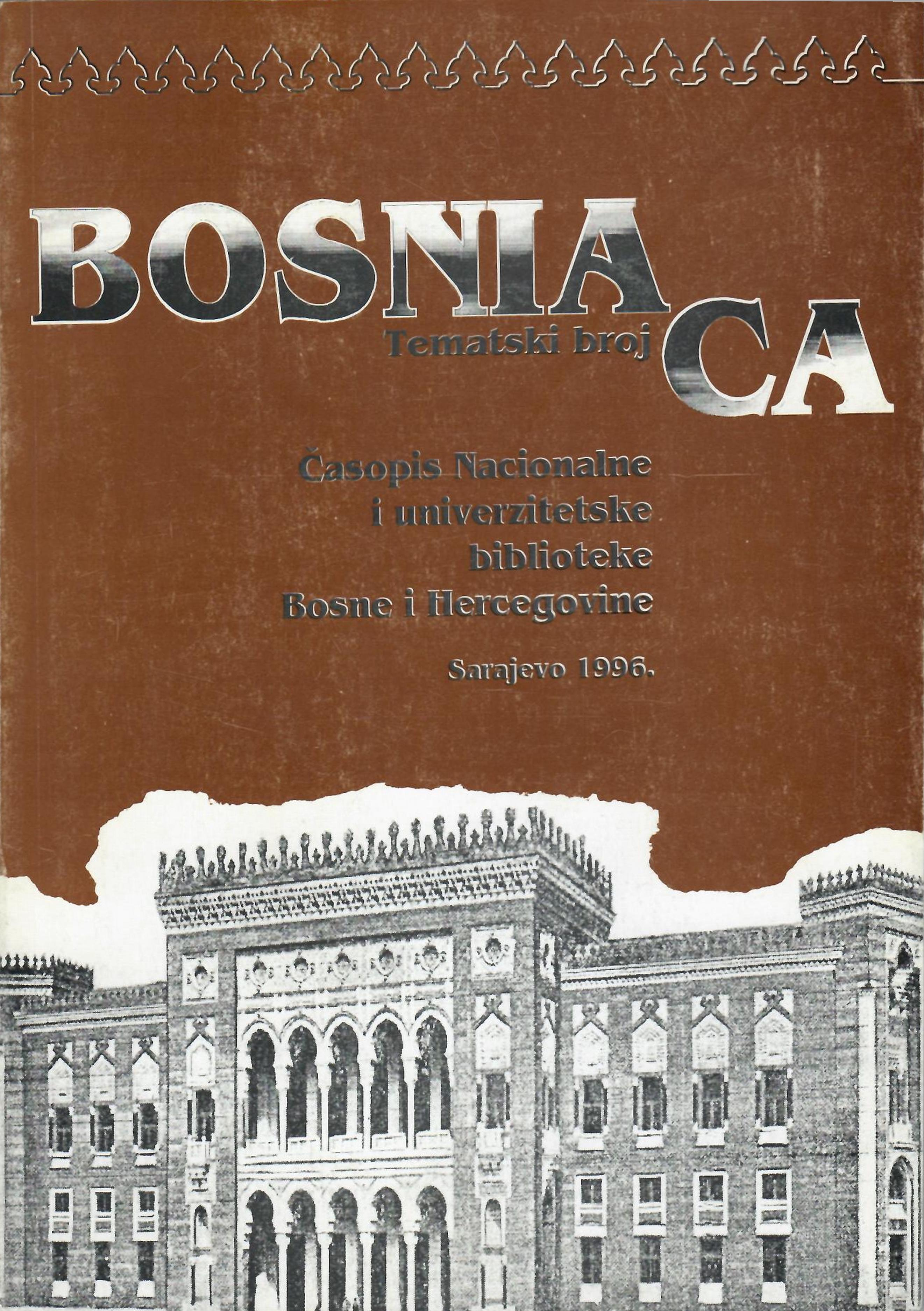 BOSNIACA - Journal of the National and University Library of Bosnia and Herzegovina Cover Image