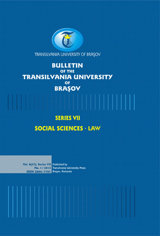 Bulletin of the Transilvania University of Braşov, Series VII: Social Sciences and Law Cover Image