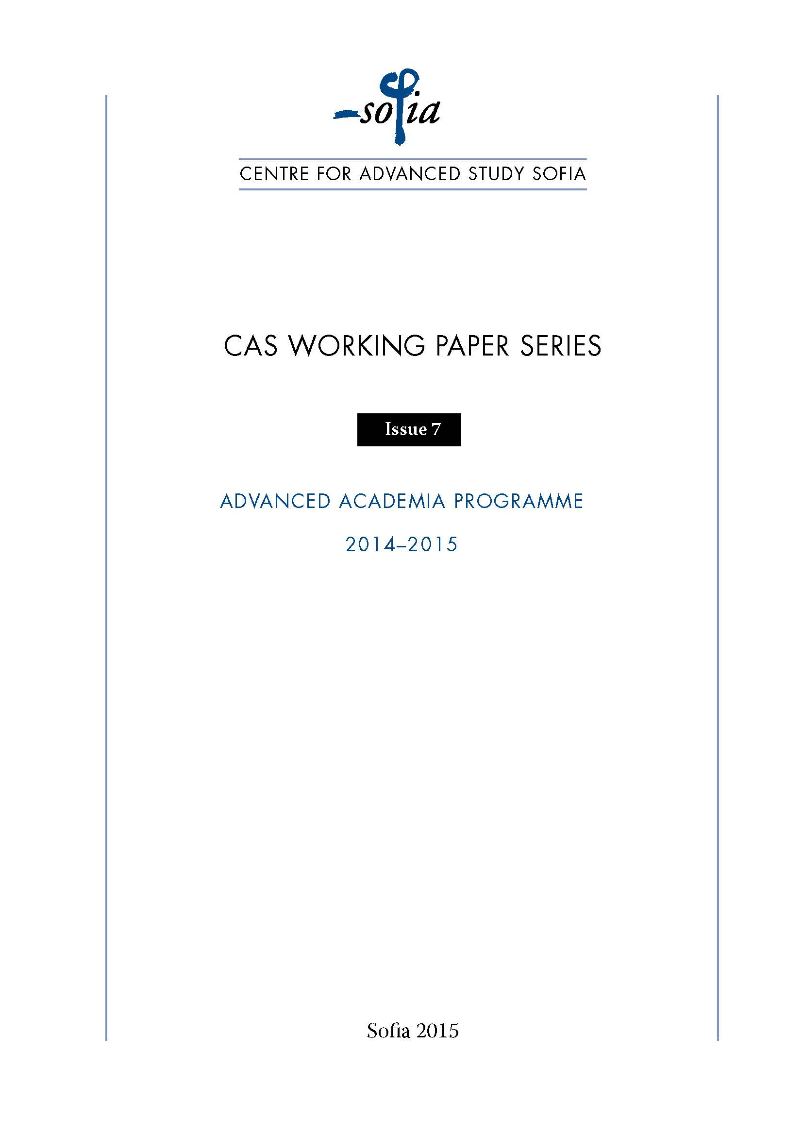 CAS Sofia Working Paper Series Cover Image