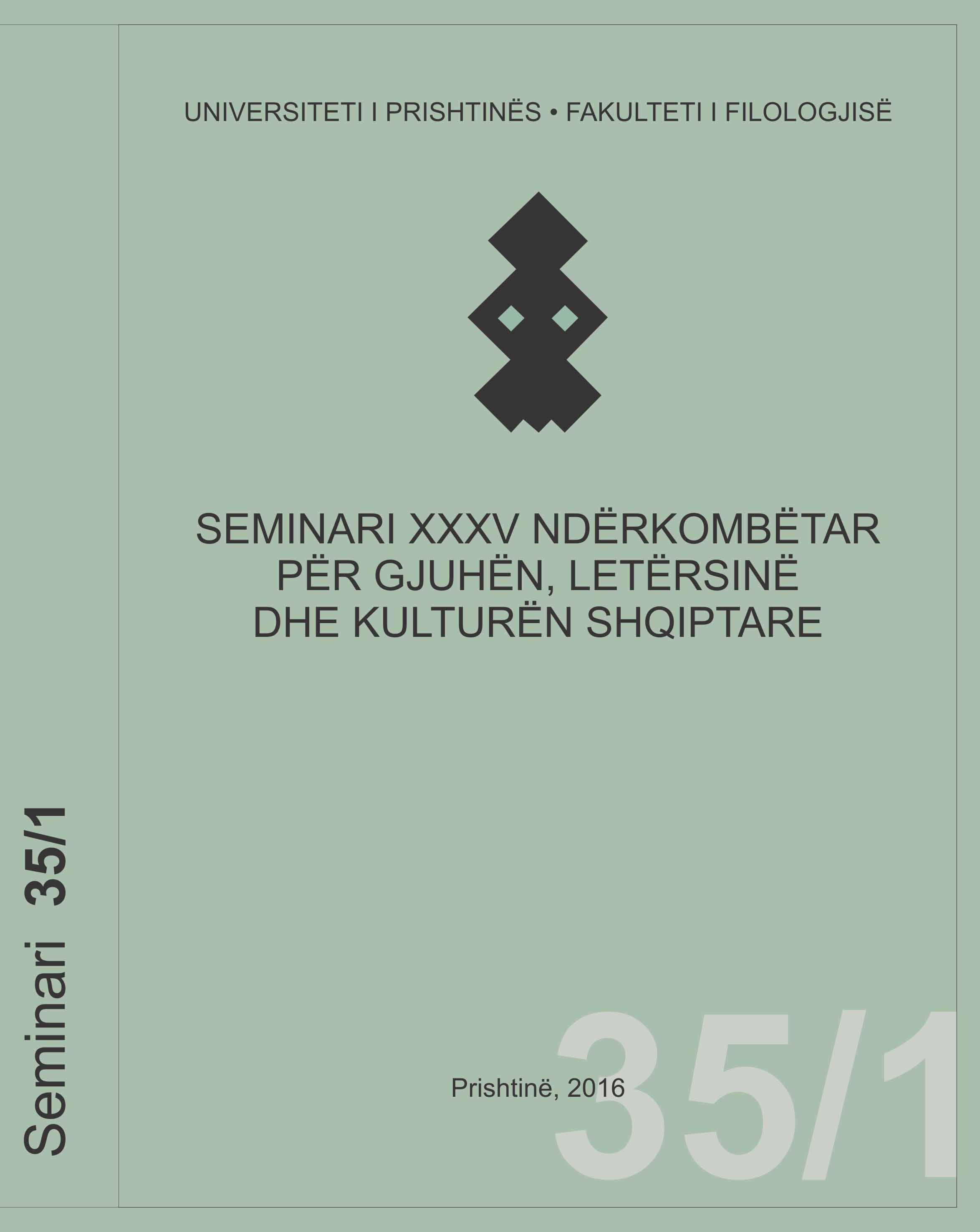 International Seminar for Albanian Language, Literature and Culture Cover Image