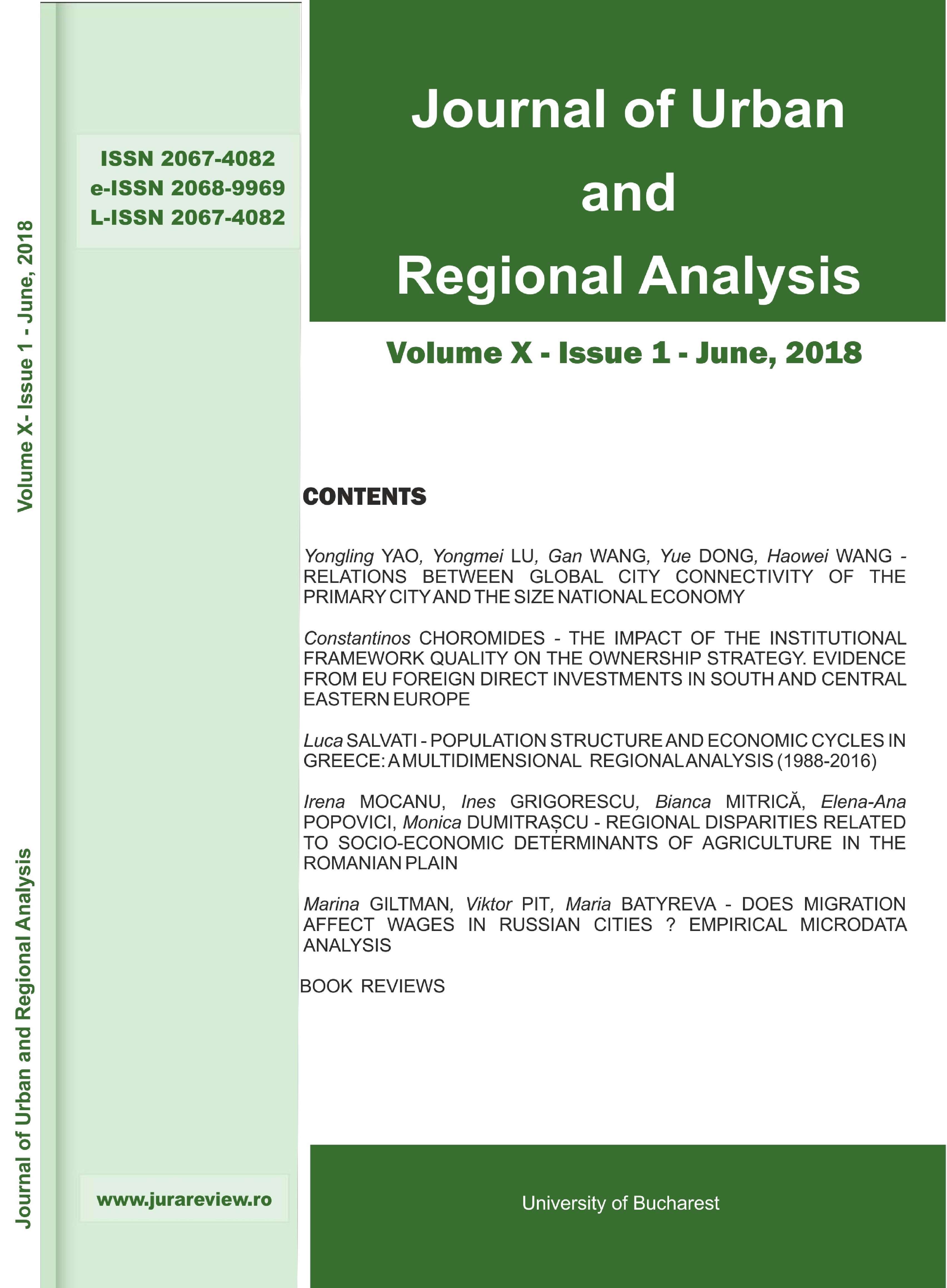 Journal of Urban and Regional Analysis Cover Image