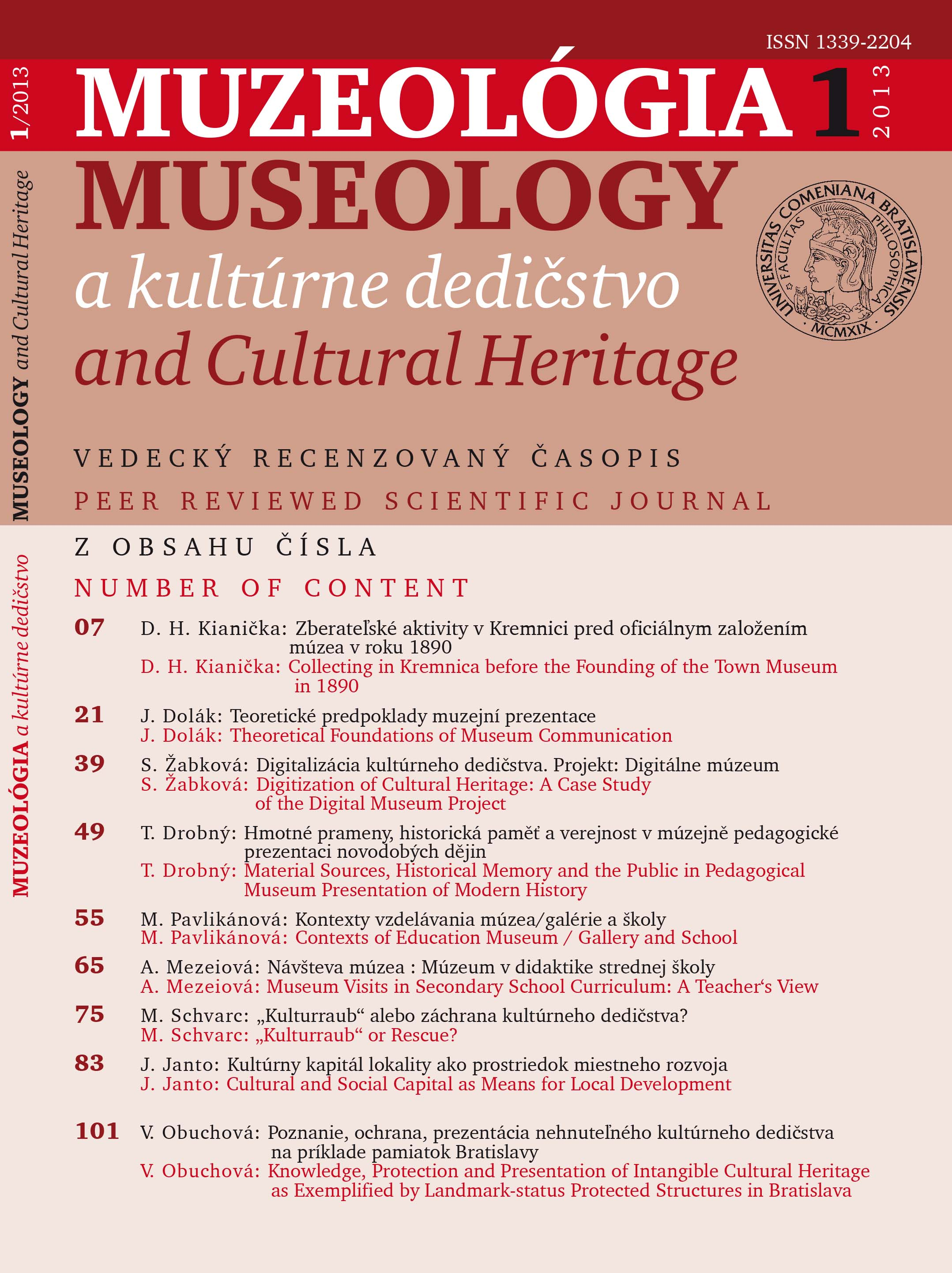 Museology and Cultural Heritage Cover Image