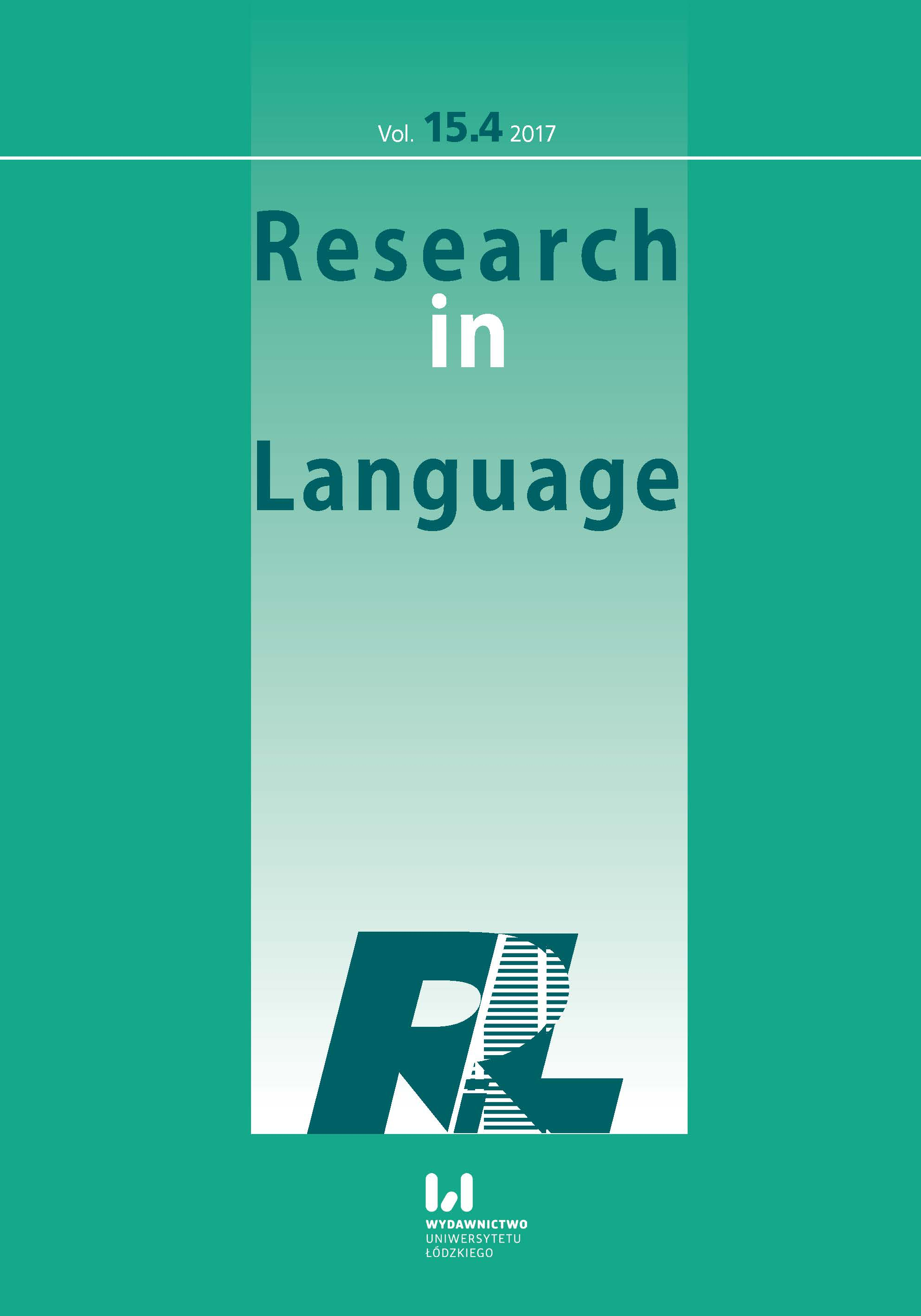 Research in Language (RiL) Cover Image