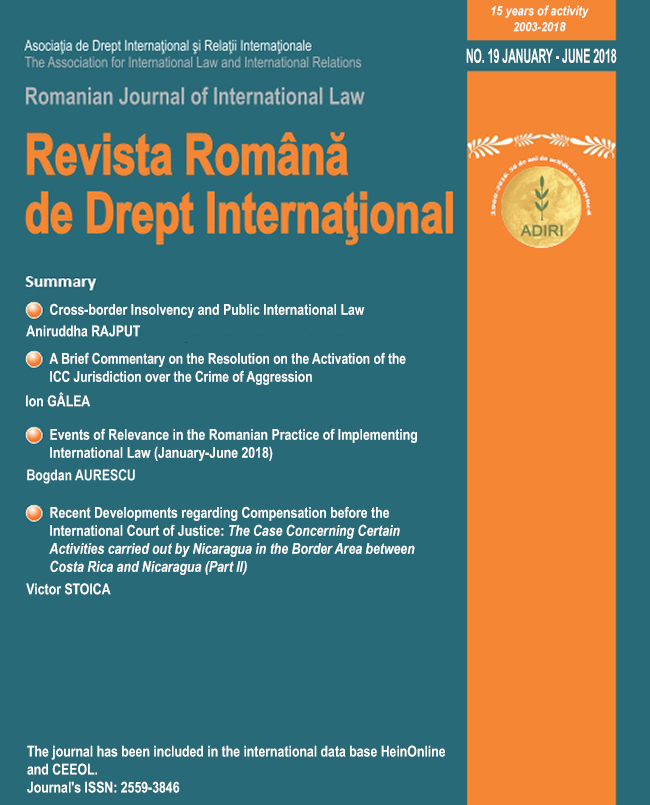 Romanian Journal of International Law Cover Image