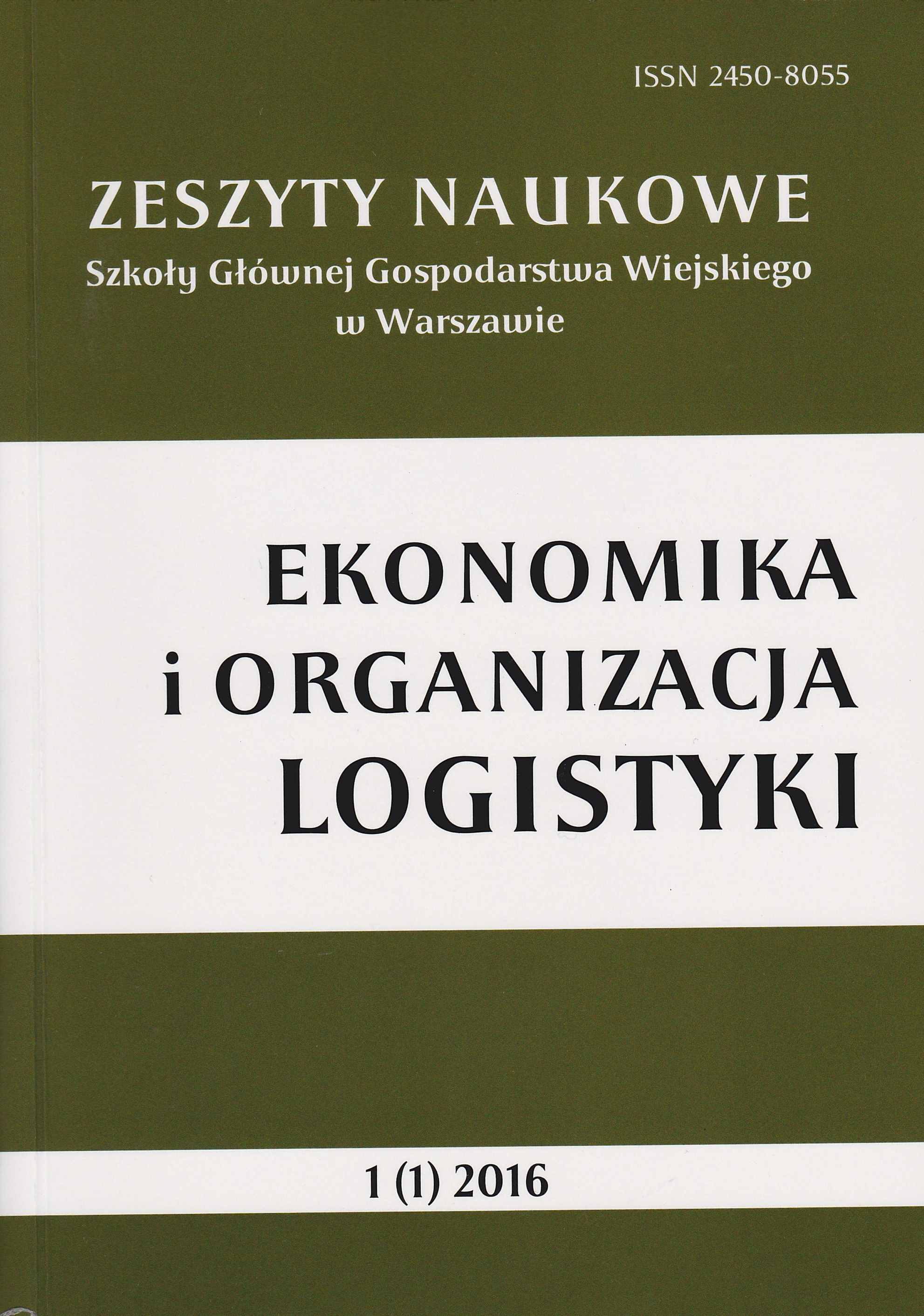 Scientific Journal of Warsaw University of Life Science - Economics and Organization of Logistics Cover Image