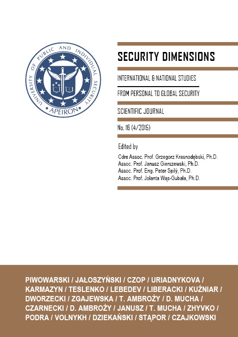 Security Dimensions. International and National Studies