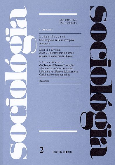 Sociology - Slovak Sociological Review Cover Image