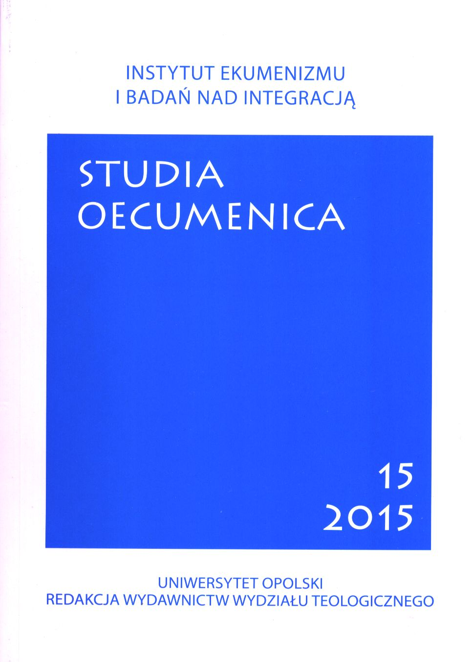 Studia Oecumenica Cover Image