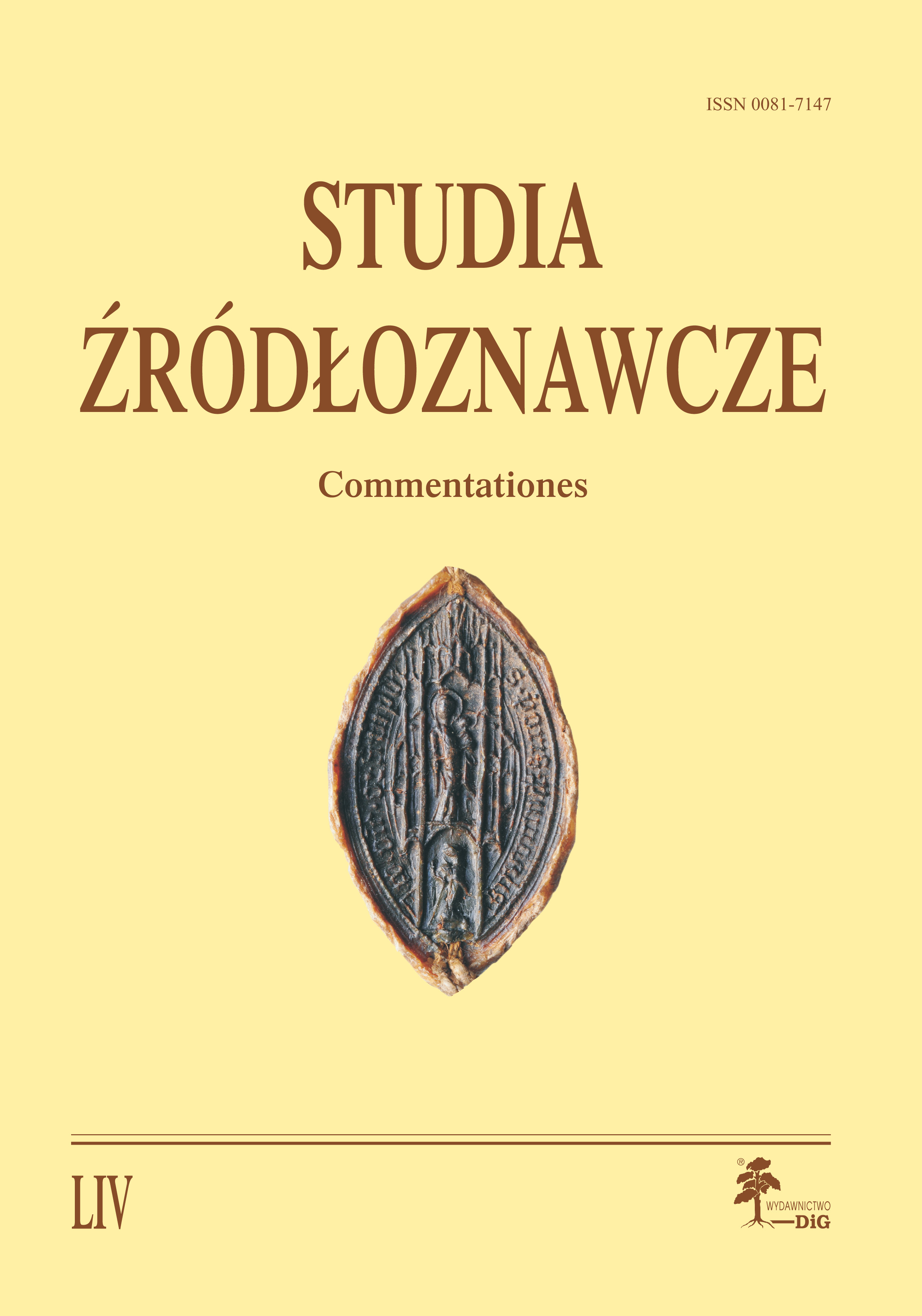 Studies on Historical Sources. Commentationes Cover Image